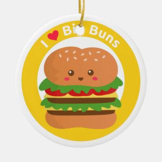 I Love Big Buns, Kawaii Big Burger Ceramic Ornament