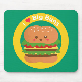 I Love Big Buns, Kawaii Big Burger Mouse Pad