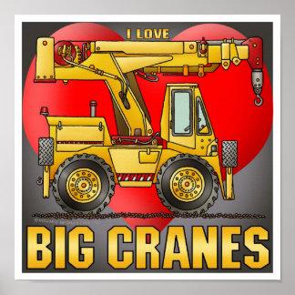 I Love Big Crane Trucks Poster Print