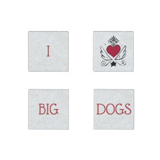 I Love Big Dogs Set Of 4 Magnets