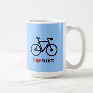 I Love Bike blue background Classic White Mug