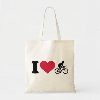 I love bike cycling budget tote bag