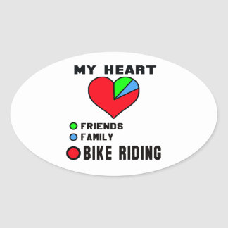 I love bike riding. oval sticker