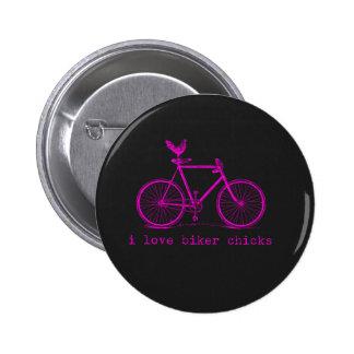 I love Biker Chicks Funny Chicken Pinback Buttons