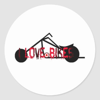 i love bikes and motorcicles picture image classic round sticker