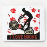 I Love Biking Gears Mousepads