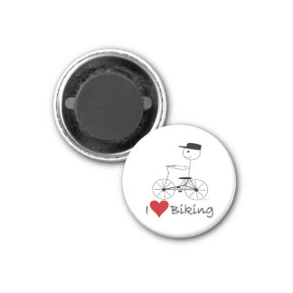 I Love Biking Gifts and Apparel 1 Inch Round Magnet