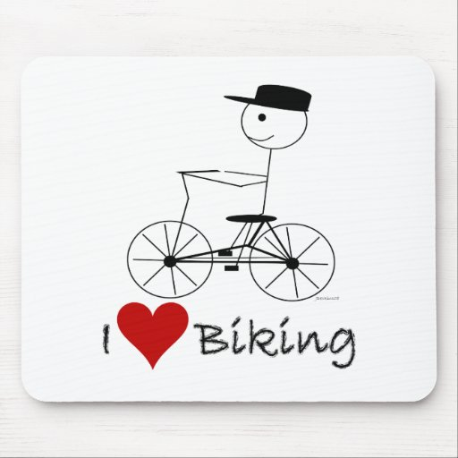 I Love Biking Gifts and Apparel Mouse Pad