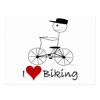 I Love Biking Gifts and Apparel Postcard