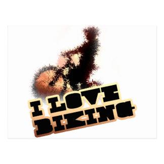 I Love Biking Wheelie Postcard