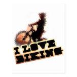 I Love Biking Wheelie Postcards