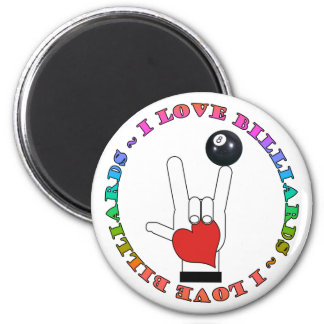 I LOVE BILLIARDS ASL SIGN LANGUAGE 2 INCH ROUND MAGNET