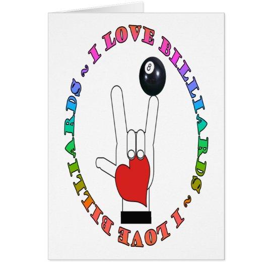 I LOVE BILLIARDS ASL SIGN LANGUAGE CARD