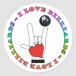 I LOVE BILLIARDS ASL SIGN LANGUAGE CLASSIC ROUND STICKER