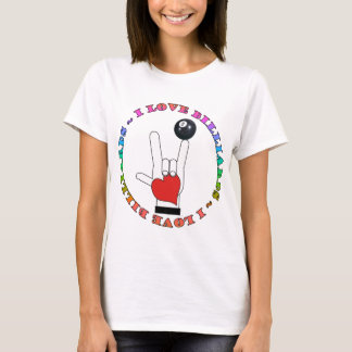 I LOVE BILLIARDS ASL SIGN LANGUAGE T-Shirt