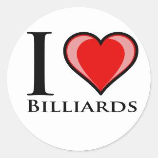 I Love Billiards Classic Round Sticker