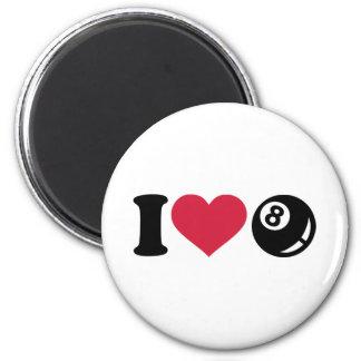 I love Billiards eight ball Refrigerator Magnets