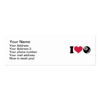 I love Billiards eight ball Mini Business Card