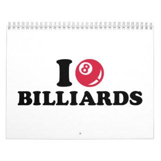 I love Billiards Pool Calendar