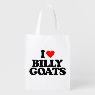 I LOVE BILLY GOATS REUSABLE GROCERY BAGS