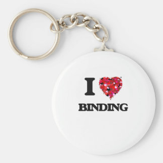 I Love Binding Basic Round Button Keychain