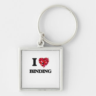 I Love Binding Silver-Colored Square Keychain