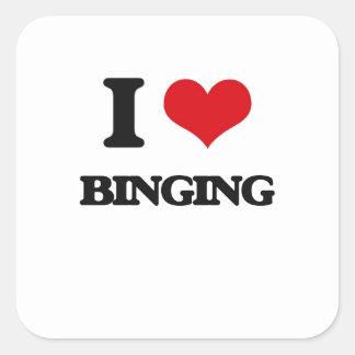 I Love Binging Square Stickers
