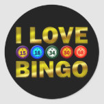 I LOVE BINGO CLASSIC ROUND STICKER