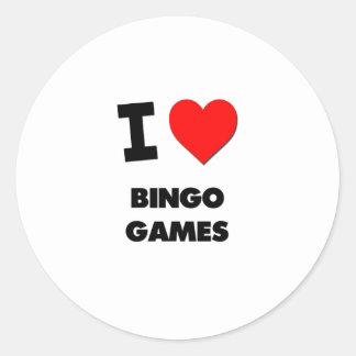 I Love Bingo Games Round Sticker