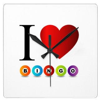 I love bingo square wall clock