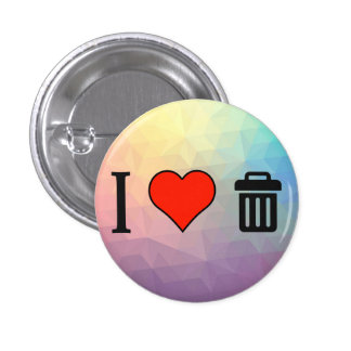 I Love Biodegradable 1 Inch Round Button