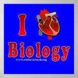 I Love Biology (blue) Poster