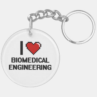 I Love Biomedical Engineering Digital Design Double-Sided Round Acrylic Keychain