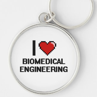 I Love Biomedical Engineering Digital Design Silver-Colored Round Keychain