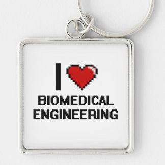 I Love Biomedical Engineering Digital Design Silver-Colored Square Keychain