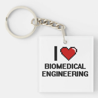I Love Biomedical Engineering Digital Design Single-Sided Square Acrylic Keychain