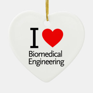 I Love Biomedical Engineering Double-Sided Heart Ceramic Christmas Ornament