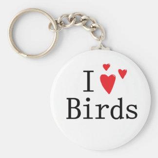 I Love Birds Basic Round Button Keychain
