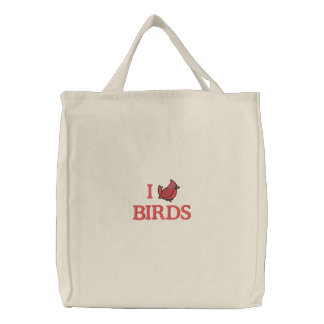 I Love Birds (Cardinal) Embroidered Tote Bag