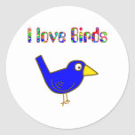 I love Birds Classic Round Sticker