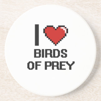 I love Birds Of Prey Digital Design Beverage Coaster