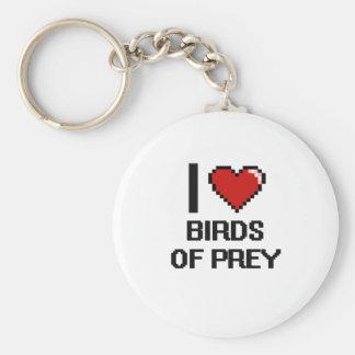 I love Birds Of Prey Digital Design Basic Round Button Keychain