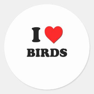 I Love Birds Classic Round Sticker