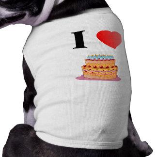 I Love Birthday Cake Dog Ribbed T-shirts T-Shirt