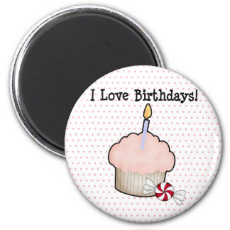 I love birthdays! 2 inch round magnet