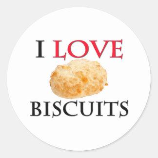 I Love Biscuits Round Stickers