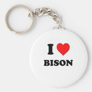 I Love Bison Keychain