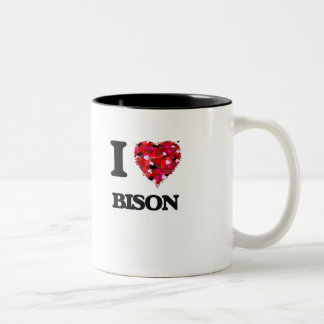 I Love Bison Two-Tone Coffee Mug