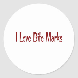 I Love Bite Marks Classic Round Sticker