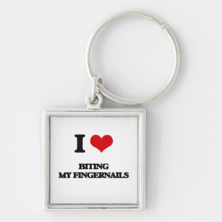 I love Biting My Fingernails Silver-Colored Square Keychain